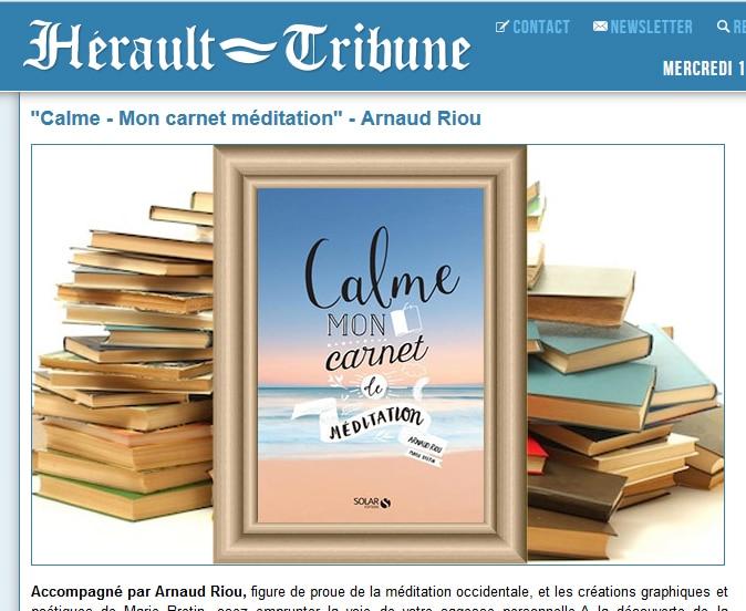 Site Hérault Tribune – «Calme – mon carnet de méditation»